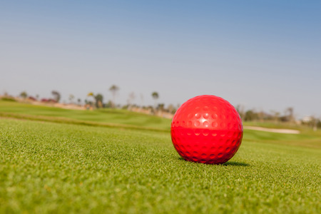 t off: The red golf ball model with blurred golf course background.