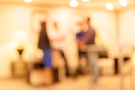 sociability: Blurred people audience in conference event hall, business concept.