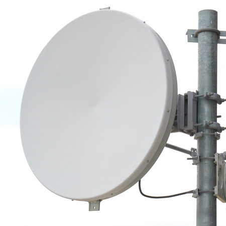 dipole: Close-up antenna dish for telecommunications with white background. Stock Photo