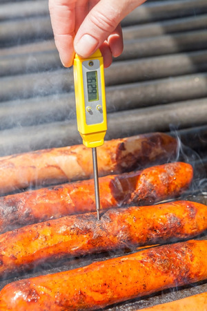 thermo: The grilled sausages with quality thermo checking.