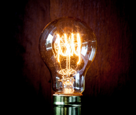 looping: Classic Edison light bulb with looping carbon filament. Stock Photo