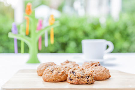 tarde de cafe: Galletas de avena servido con café o té caliente en el té de la tarde y el fondo del jardín borrosa. Foto de archivo
