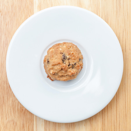 oatmeal cookie: A plate of oatmeal cookie ready to be served for afternoon tea. Stock Photo