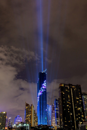 Bangkok, Thailand- August 29, 2016: The nightlight of Bangkok cityscape for celebrating Mahanakhon skyscraper building is officially opening by recorded the tallest building in Thailand. Editorial