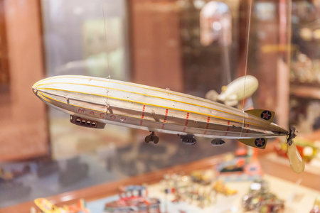 antique factory: Sapporo, Japan- June 4, 2016. Retro airship toy show in museum of Ishiya chocolate factory.