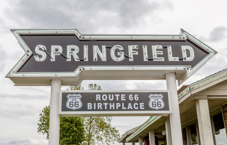 western usa: Springfield Missouri, USA- May 18, 2014. Springfield road arrow sign in best western route 66 rail haven.