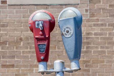 parking violation: Somerset country Pennsylvania, USA- May 19, 2014. Parking meters in the city.