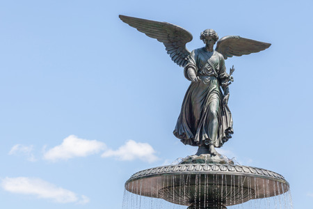 bethesda: New York, USA- May 20, 2014. Bethesda Fountain (Angel of water fountain) by Emma Stebbin located in Central Park, New York City, USA.