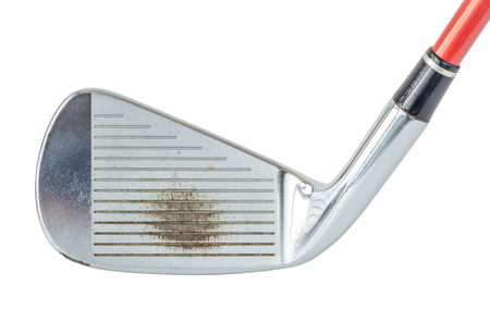 off course: Close up the old metal golf club on white background, golf sport concept.