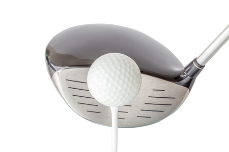 The new golf ball on tee with shiny black driver club on white background, golf concept.