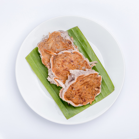 Traditional Thai dessert (Kanom Babin), Grilled mixed flour with young coconut slices as pancake style.