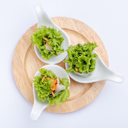 Fresh vegetable spring roll served by canape spoon, Thai or Vietnamese appetizer healthy dish.