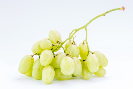 Fresh juicy green grapes on white background, healthy food concept. Фото со стока - 85628735