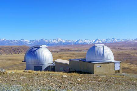 Stars Observatory Building at Mt John Summit in autumn season, Lake Tekapo, New Zealand