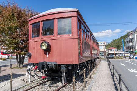 Kawaguchiko, Yamanashi/Japan, October 30, 2019: The Carnegie Model 1897, Vintage Train display at Kawaguchiko station