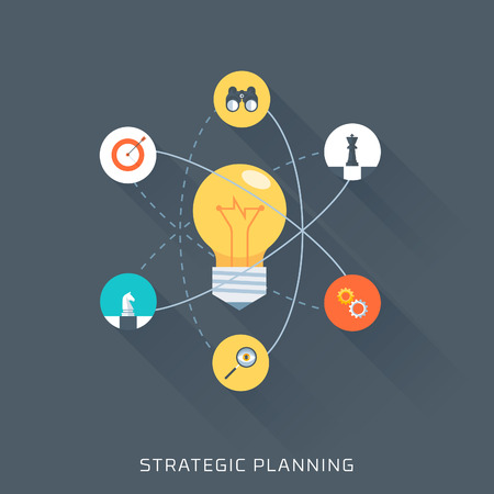planeación estrategica: La planificación estratégica, estilo plano, colorido, conjunto de iconos de vector para gráficos de información, sitios web, medios de comunicación móvil y de impresión. Vectores