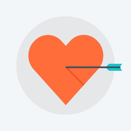 targetting: Heart flat style, colorful, vector icon for info graphics, websites, mobile and print media.
