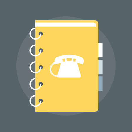 adress: Contact List flat style, colorful, vector icon for info graphics, websites, mobile and print media. Illustration