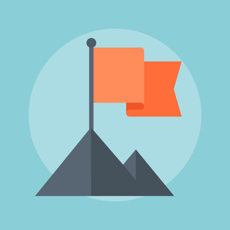 challange: Flag and Mountain flat style, colorful, vector icon for info graphics, websites, mobile and print media.