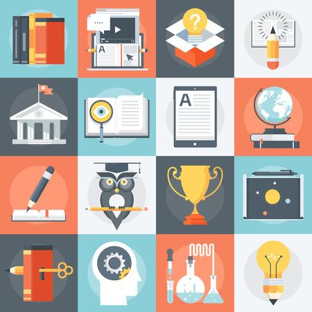 教育: 教育アイコン フラット スタイル、カラフルな高度なベクトルのアイコン情報のグラフィック、ウェブサイト、モバイル、印刷メディアのセットします。
