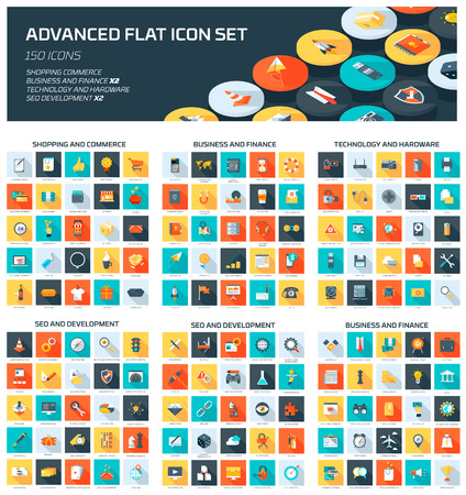 planos: Web Icon Set Avanzada estilo plano, colorido, conjunto de iconos vectoriales para gráficos de información, sitios web, medios de comunicación móvil y de impresión.