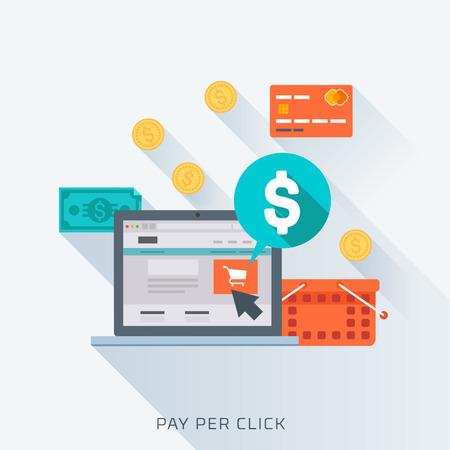 signo pesos: Pago por clic, estilo plano, colorido, conjunto de iconos de vector para gráficos de información, sitios web, medios de comunicación móvil y de impresión.