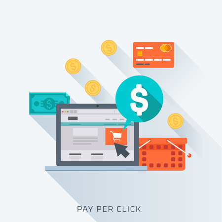 dollar sign: Pay per click, flat style, colorful, vector icon set for info graphics, websites, mobile and print media. Illustration