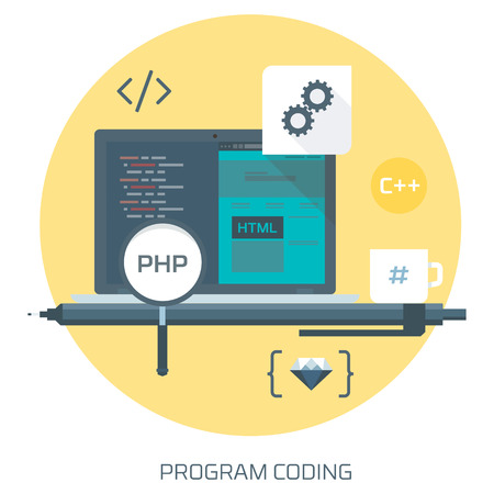 html 5: Program Coding theme flat style, minimal, stylish colorful, vector icon for info graphics, websites, mobile and print media.