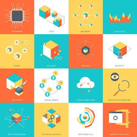 software icon: Data Theme, flat style, colorful, stylish, minimal vector icon set for info graphics, websites, mobile and print media.