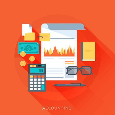 Accounting, flat style, colorful, vector icon set for info graphics, websites, mobile and print media.