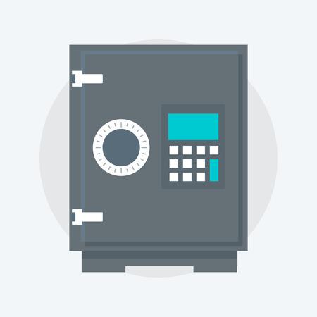 Depósito de Protección Caja Fuerte, estilo plano, colorido, icono del vector para los gráficos de información, páginas web, móvil y medios impresos.