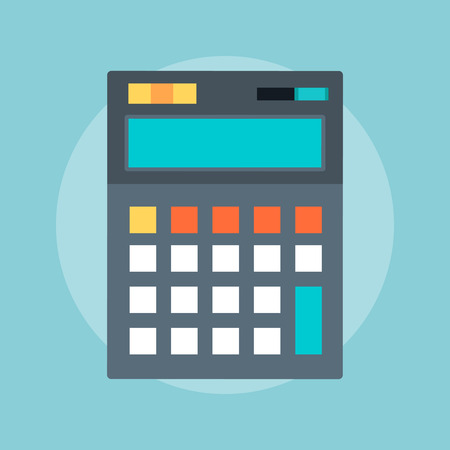 Calculator flat style, colorful, vector icon for info graphics, websites, mobile and print media. Stock Illustratie