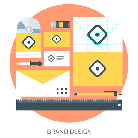 Brand Design theme flat style, minimal, stylish colorful, vector icon for info graphics, websites, mobile and print media.