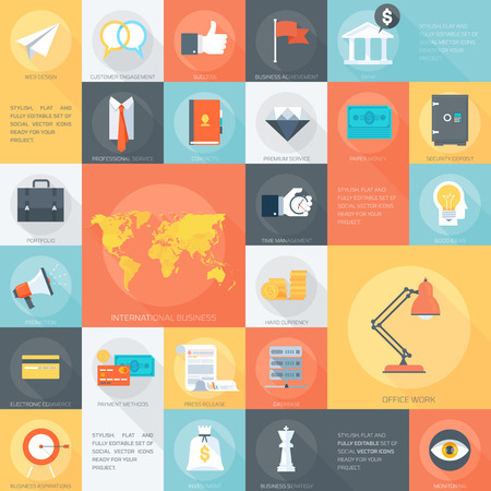 business time: Web Design Flat Icon set.