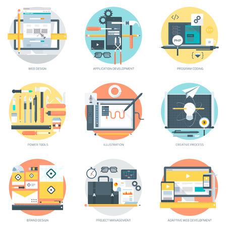 Web 開発・設計フラット スタイルは、カラフルなベクトルのアイコン情報グラフィック、ウェブサイト、モバイル、印刷メディア。  イラスト・ベクター素材