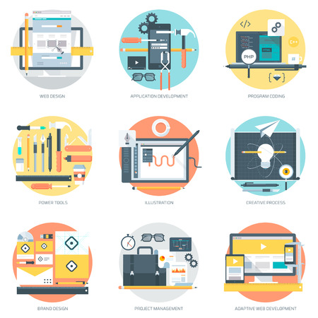 web: Web Development and Design flat style, colorful, vector icon for info graphics, websites, mobile and print media.