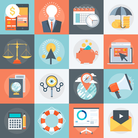 icons business: Advanced Business Flat style, colorful, vector icon set for info graphics, websites, mobile and print media.