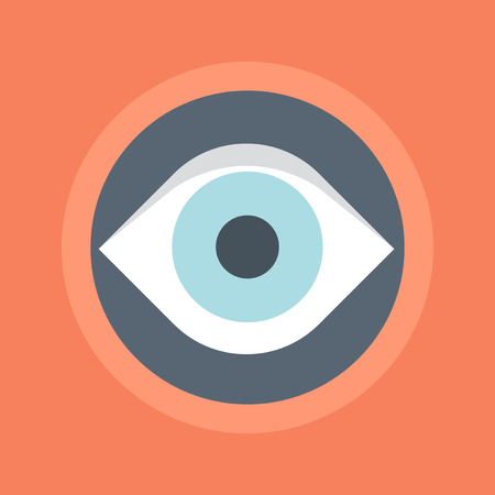 print media: Eye Monitoring flat style colorful vector icon for info graphics websites mobile and print  media.