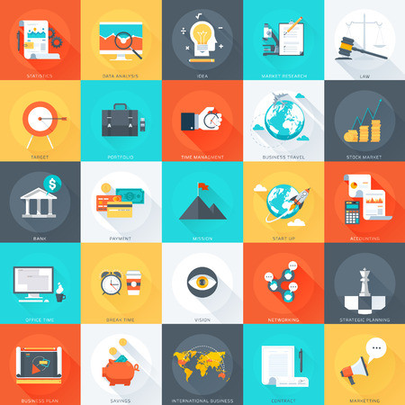 information design: Business  flat style colorful vector icon set for info graphics websites mobile and print media.