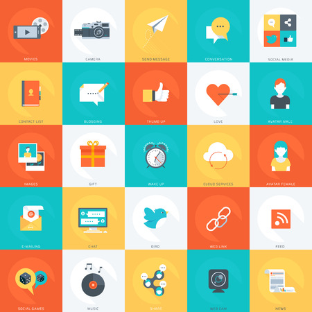 like it: Social Media minimal stylish flat style colorful vector design elements for info graphics websites mobile and print media. Illustration
