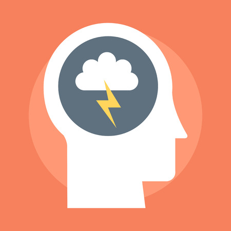 storm cloud: Brain Storming flat style colorful vector icon for info graphics websites mobile and print media. Illustration