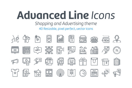 fashion shopping: Shopping and advertising icon set suitable for info graphics, websites and print media. Black and white flat line icons.