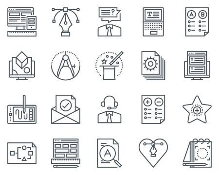 Design icon set suitable for info graphics, websites and print media. Black and white flat line icons. Illustration