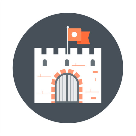 social history: Casttle theme, flat style, colorful, vector icon for info graphics, websites, mobile and print media. Illustration