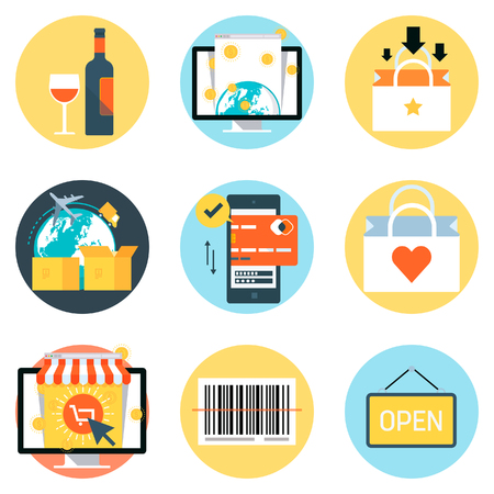 print media: Shopping theme, flat style, colorful, vector icon set for info graphics, websites, mobile and print media.