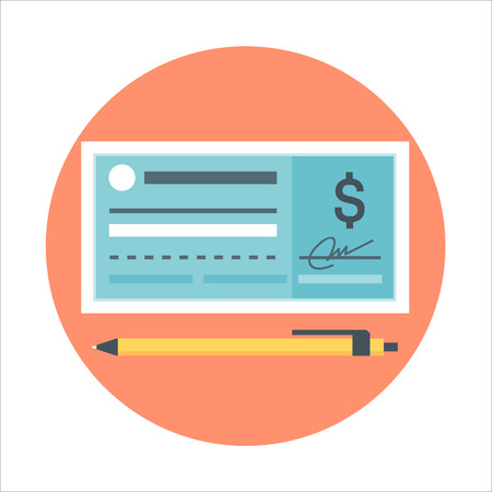 chequera: estilo plano del talonario de cheques de pago, colorido, icono de vector para la información de gráficos, páginas web, móvil y medios impresos. Vectores