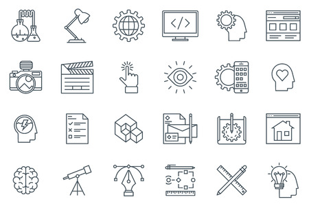 web development: Design and  development icon set suitable for info graphics, websites and print media. Black and white flat line icons.