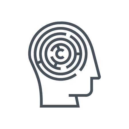 Mind maze icon suitable for info graphics, websites and print media and  interfaces. Line vector icon. Human face, head, line vector icon.