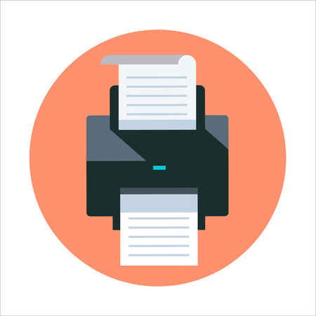 Printer theme, flat style, colorful, vector icon for info graphics, websites, mobile and print media.