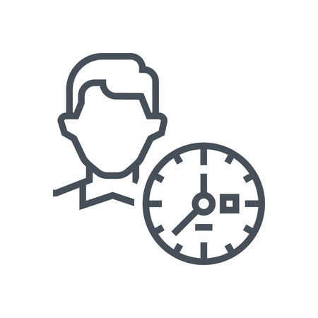 Clock, time icon suitable for info graphics, websites and print media and  interfaces. Line vector icon. Human face, head, line vector icon.